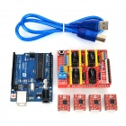 Funduino 3D0073 FR4 Expansion Board + 4-Stepper Motor Drives + Funduino-UNO R3 Board Kit for Arduino