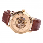 Sewor M112-1 Fashionable PU Band Analog Self-Winding Mechanical Watch for Men - Golden + Brown