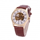 Sewor M116-3 Fashionable PU Band Analog Self-Winding Mechanical Watch for Men - White + Brown