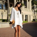 Women's Loose Sexy Casual V Neck Flare Hem Mini Dress - White (M)