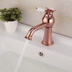 YDL-F-0574 Fashionable Gold-plated Brass Bathroom Basin Faucet - Rose Gold + White