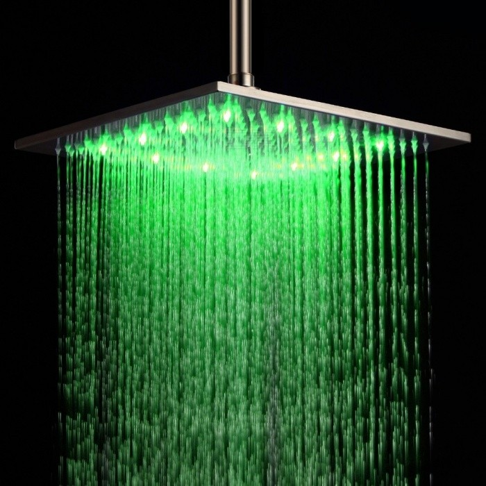YDL-BD005-1 16 Temperature Control 24-LED RGB Light 304 Stainless Steel Square Shower Head - SilverShower Heads<br>Form  ColorSilverModelYDL-BD005-1Material304 stainless steelQuantity1 DX.PCM.Model.AttributeModel.UnitShower HeadRainfallFinishBrushedNumber of handlesSingleShowerhead Dimension40 x 40cmInstallation Hole1Spout Height5.8 DX.PCM.Model.AttributeModel.UnitSpout Length40 DX.PCM.Model.AttributeModel.UnitStyleContemporarySpout Width40 DX.PCM.Model.AttributeModel.UnitOther FeaturesStandard 1/2 threadPacking List1 x Shower head<br>