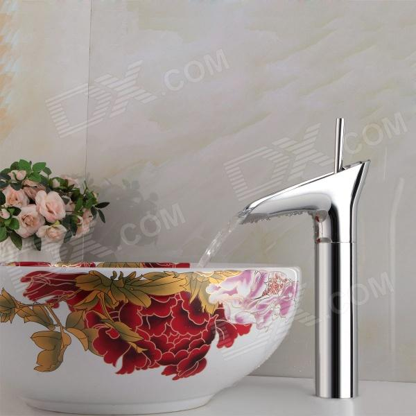 YDL-F-0585 Winebowl Style Chrome-plated Brass Cold / Hot Water Faucet  - SilverBath Faucets<br>Form  ColorSilverModelYDL-F-0585MaterialBrassQuantity1 DX.PCM.Model.AttributeModel.UnitFinishChromeFaucet Spout MaterialOthers,BrassFaucet Body MaterialOthers,BrassFaucet Handle MaterialOthers,BrassStyleContemporaryOther FeaturesInstallation type: vertical; Installation holes: one hole; Number of switches: single handle; Valve type: ceramic; Standard 1/2 threads; Spout height: 20.5cm; Spout width: 3cm; Spout length: 11.5cmPacking List1 x Faucet 2 x Stainless steel hoses (50cm) 2 x Seal rings 2 x Mounting nuts<br>