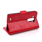 Oil Wax Leather TPU and PU Full Body Case with Stand for LG G3 - Red