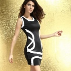 Contrasto Classic Color Club Mini Dress-nera + bianco