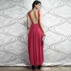 Stilvolle Low-Cut Back Maxi Kleid - Pink