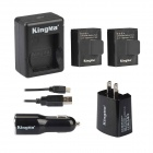 Kingma AC/Car Charger s Dual USB Port + 2 baterie sada pro kiteboarding 3 / 3 + - Black