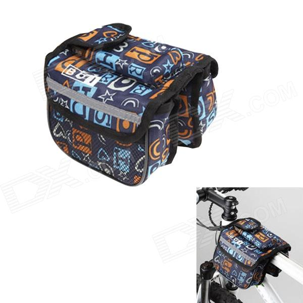 BOI 12898 Stylish Patterned Bike Bicycle Frame Top Tube Double Bag - Multi-colored