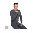 Men's Long Cotton Thermal Underwear Suit - Deep Grey