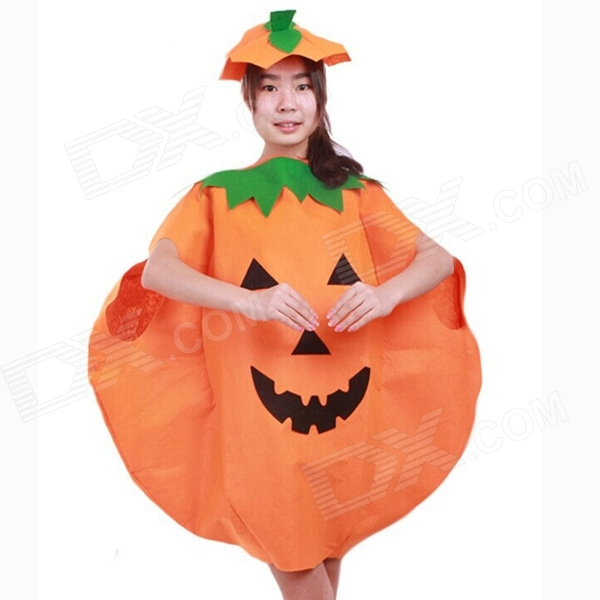 Halloween Costumes Pumpkin Shape Children's Festival Costumes - Orange + Green + Black