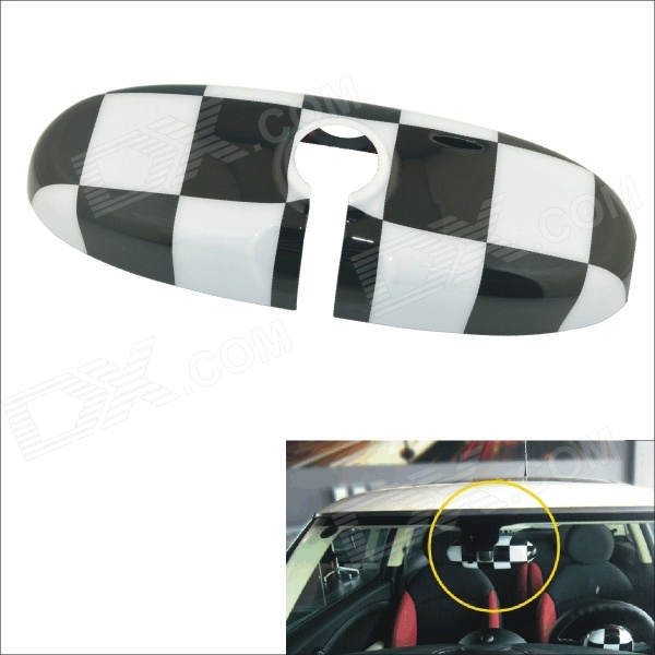 Carking Grid Pattern ABS UV Protected Car Interior Mirror Sticker - White + Black
