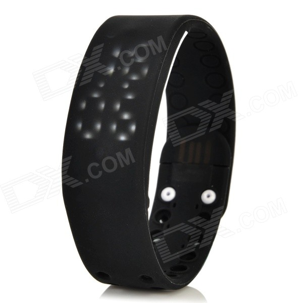 W2 USB LED Smart Wrist Band w/ Time / Calorie / 3D Pedometer / Temperature / Sleep Monitor - Black