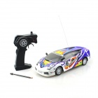 B001-4 1:18 4-CH R/C Sports Car Model Toy w/ Remote Cotroller - Blue + White + Multi-colored