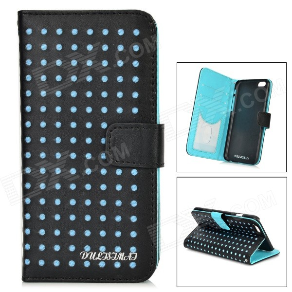 "DULISIMAI Polka Dot Pattern Protective PU + PC Case w/ Stand for IPHONE 6 4.7"" - Black + Blue"