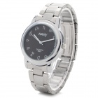 NARY Men's Stainless Steel Band Analog Quartz Wrist Watch - Black + Silver (1 x SR626)
