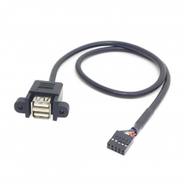 CY U2-256 Dual USB 2.0 A Type Female to Motherboard 9-Pin Header Cable w/ Screw Panel Holes - Black