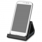 Triangle Style USB 3.0 4-Port HUB Aluminum Alloy Holder w/ Power Adapter for Phone / Tablet PC