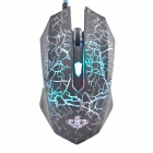 YDL-G1000 Cracks Style 1000~1600DPI USB 2.0 Wired Laser Colorful Backlit Gaming Mouse - Black + Blue