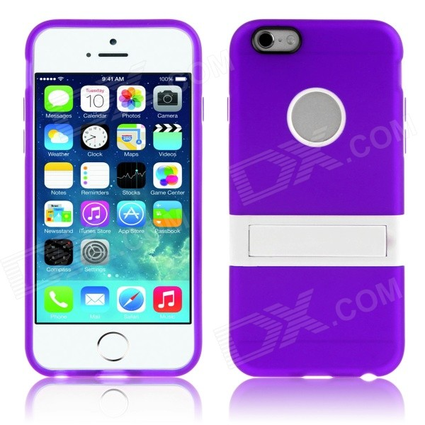 Hat-Prince Protective TPU Case Cover w/ Stand for 4.7 IPHONE 6 - PurpleSilicone Cases<br>Form  ColorPurpleBrandHat-PrinceQuantity1 DX.PCM.Model.AttributeModel.UnitMaterialTPU + PlasticShade Of ColorPurpleCompatible ModelsIPHONE 6DesignSolid Color,With StandStyleBack CasesPacking List1 x Back Case<br>