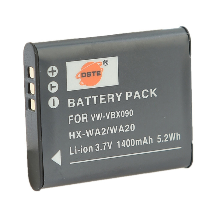 DSTE VW-VBX090 1400mAh Li-ion Battery + US Plugss DC16 Charger for Panasonic HX-WA20 / HX-WA2 / HX-WA3