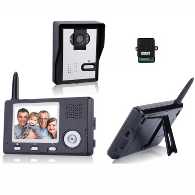 3.5 Inch Wireless Video Door Phone with Night Vision (1 Camera 2 Monitors)