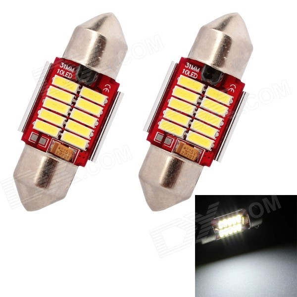 MZ Festoon 31mm 5W 200LM 6500K LED White Light Car Lamp - SilverHeadlights<br>Color BINWhite Light Festoon 31mmBrandMZModelFestoon 31mmQuantity1 DX.PCM.Model.AttributeModel.UnitMaterialPCBForm  ColorOthers,Yellow + Silver + RedEmitter TypeLEDChip BrandOthers,7014 SMDChip Type7014 SMDTotal Emitters10Power5WColor Temperature6500 DX.PCM.Model.AttributeModel.UnitTheoretical Lumens250 DX.PCM.Model.AttributeModel.UnitActual Lumens200 DX.PCM.Model.AttributeModel.UnitRate Voltage12VWaterproof FunctionNoConnector TypeFestoon 31mmApplicationLicense plate light,Roof light,Reading lampPacking List2 x Car Light<br>