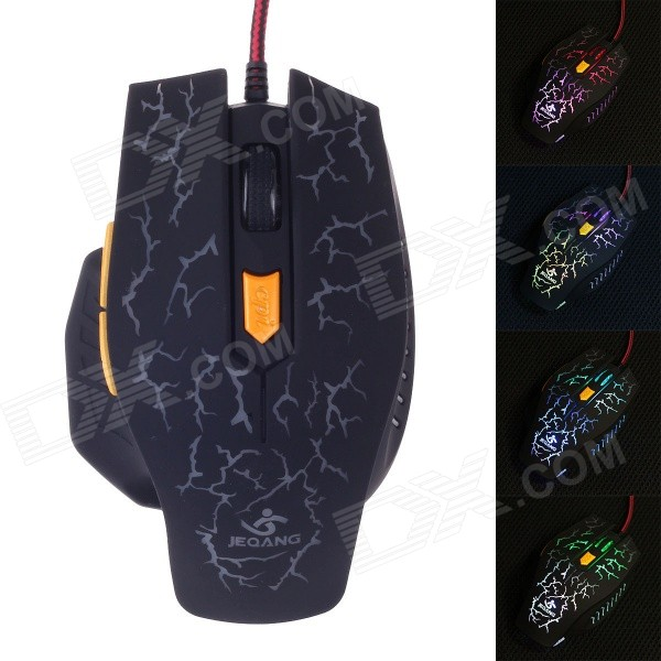 JM-1949 USB 2.0 Wired 800 / 1200 / 1600 / 2400dpi 6-Key Professional Gaming Mouse - Black