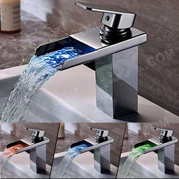 YDL-F-0588 Chrome Brass Personalized Single Handle LED Bathroom Sink Faucet - Silver
