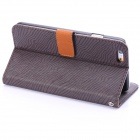 "ENKAY Zebra-stripe Pattern Protective Case w/ Stand and Card Slots for IPHONE 6 4.7"" - Deep Grey"