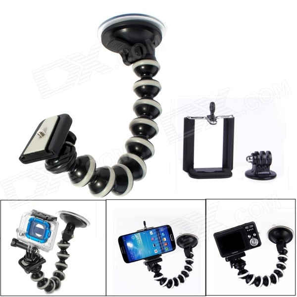 Car Suction Cup Mount + Adapter + Phone Holder Set for SJ4000 / GoPro Hero 4 - Black + GreyMounting Accessories<br>Form  ColorBlack + GreyBrandJUSTONEModelJ105-1MaterialPlastic + steelQuantity1 DX.PCM.Model.AttributeModel.UnitTypeMonopod,Others,Car suction cup mountRetractableYesScrew Size1/4Min.Height10 DX.PCM.Model.AttributeModel.UnitMax.Height30 DX.PCM.Model.AttributeModel.UnitMax.Load1000 DX.PCM.Model.AttributeModel.UnitShade Of ColorBlackCompatible ModelsOthers,SJ4000 / GoPro Hero 4Packing List1 x 10 suction cup mount1 x GoPro adapter 1 x Phone clip (5.5~8.5cm)<br>