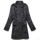 STBB-00575 Women's Trendy Medium Style Wool Coat - Deep Grey (Size M)