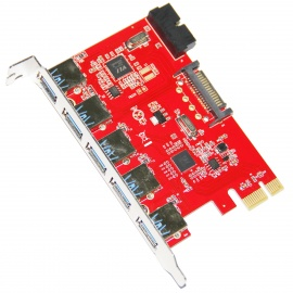 WBTUO-LTU3-51P-Desktop-PCI-E-to-5-Port-USB-30-2b-20-PIN-Expansion-Card-Red