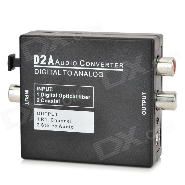 Digital Coaxial / Optical to Analog L/R Audio Converter w/ 3.5mm Jack - Black