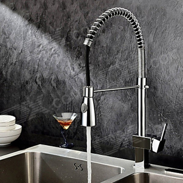 Ydl F 0589 Single Handle Chrome Plated Brass Spring Pull Down Kitchen Faucet Silver Black