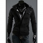 Mens-Fashionable-Slim-Fit-Zippered-Long-sleeved-Cotton-Outwear-Coat-w-Cap-Black-(XL)