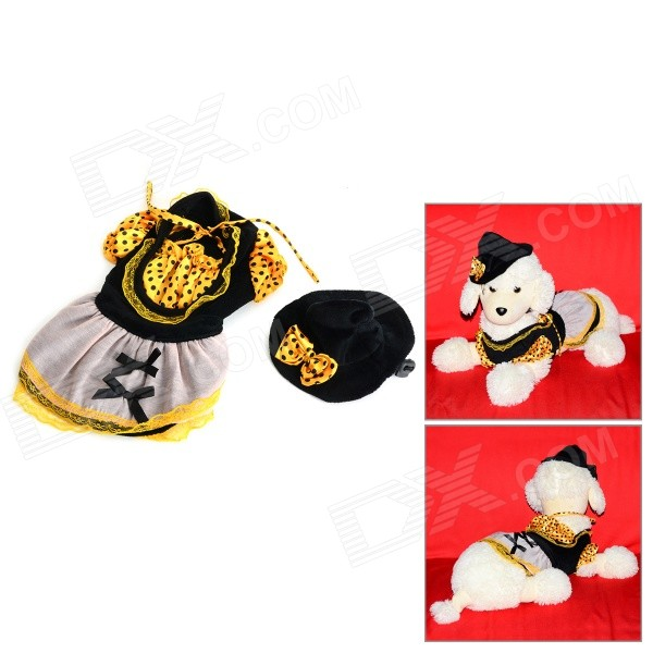 Halloween Witch Style Cotton Coat + Cap Suit for Pet Cat / Dog - Black + Yellow (Size S)