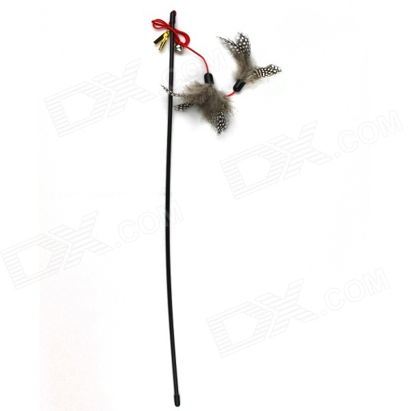 Feathers Style Cute Plastic Cat Stick Rod - Black + Multi-Colored