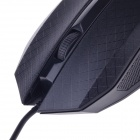 JM-319 Stylish Checked Pattern USB 2.0 Wired 1200 dpi Gaming Mouse - Black