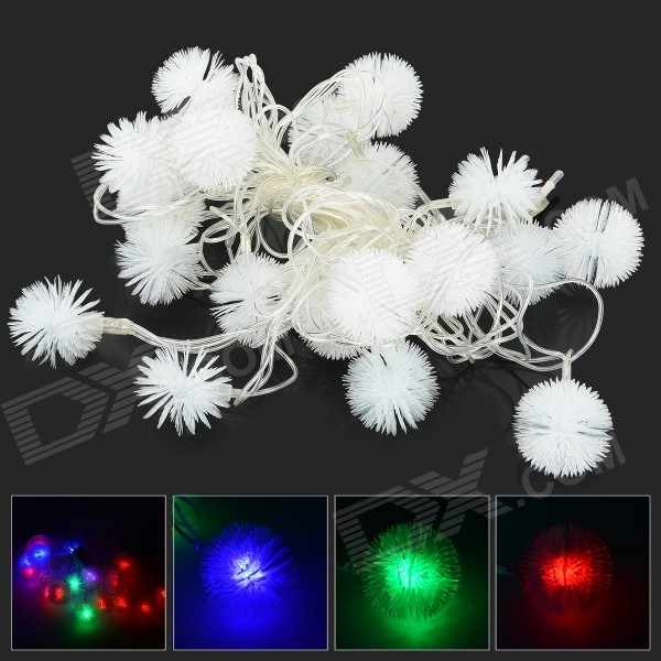 HH52 3W 530lm 20-LED RGB Plush Balls Decorative Modeling String Light - White (4M / 220V)LED String<br>ModelHH52MaterialPVCForm  ColorWhiteQuantity1 DX.PCM.Model.AttributeModel.UnitPower3WRate Voltage220VDimmableNoConnector TypeOthers,EU plugEmitter TypeLEDTotal Emitters20Color BINRGBBeam Angle360 DX.PCM.Model.AttributeModel.UnitActual Lumens500~530 DX.PCM.Model.AttributeModel.UnitWavelengthRed: 450~500nm; Green: 420~470nm; Blue: 400~450nmOther FeaturesModeling decoration string lightPacking List1 x LED string light<br>