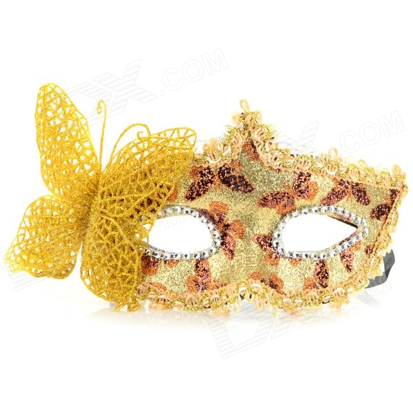 Stylish Butterfly Decorated Shiny Powder Finish Mask for Halloween / Costume Party / Ball - Golden