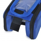 B-soul YA126 Bike Bicycle Top Tube Double Bag w/ Touch Screen Phone Pouch Case - Blue