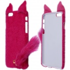 "Fashionable Plush Mink Style Protective PC Case w/ Tail for IPHONE 6 4.7"" - Rose"