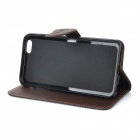 DULISIMAI Flip-Open Case w/ Stand + Strap + Card / Bill Slots for IPHONE 6 PLUS - Black + Brown