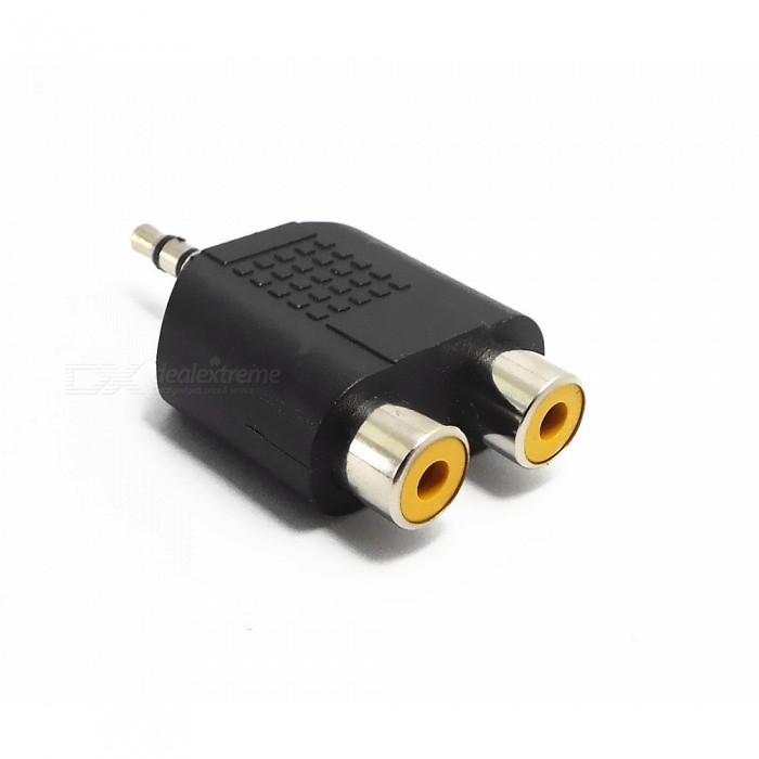 Gold Plated Composite AV Cable Female to 3.5mm Male Convertor Plug
