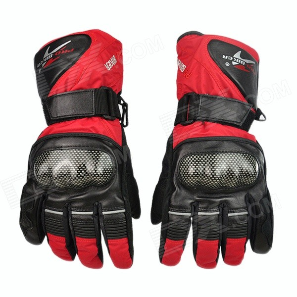 PRO-BIKER Motorcycle Thickened Warm Waterproof Racing Gloves - Red (Pair / Size-XL)