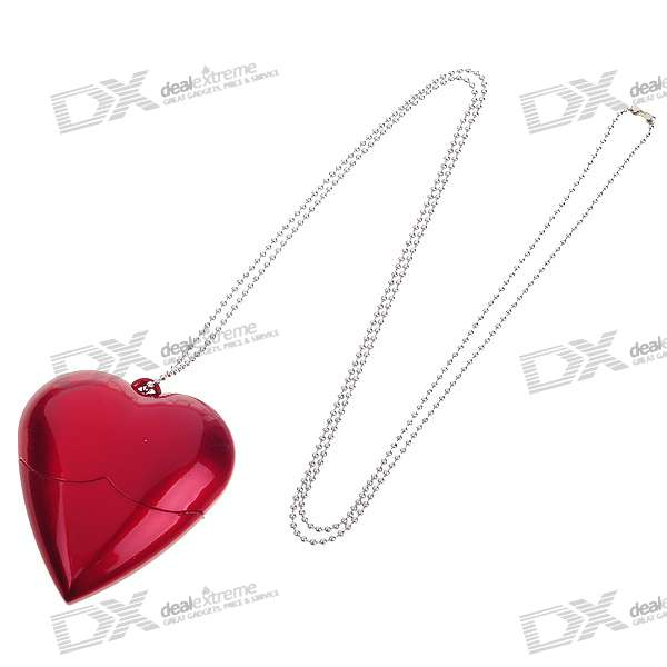 Heart Shaped USB 2.0 Flash/Jump Drive Necklace (4GB)