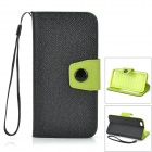 "Protective PU Flip-Open Case w/ Card Slots / Stand / Strap for IPHONE 6 4.7"" - Black + Green"