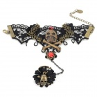 Women's Cool Pirate Skull Head Zinc Alloy + Lace Bracelet w/ Ring - Red + Bronze + Multi-Color