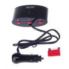 YC-420 1-to-3 Car Cigarette Lighter Power Splitter Adapter w/ Independent Switch - Black (12~24V)