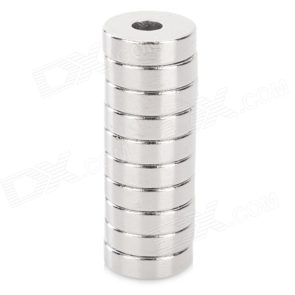 Round Hole Shaped N35 NdFeB Magnets - Silver (10 PCS)
